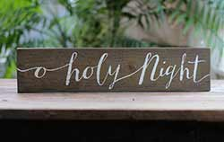 O Holy Night Hand-Lettered Wooden Sign