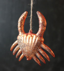 Icy Wharf Crab Ornament - Orange