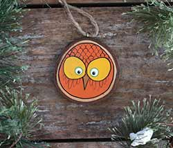 Our Backyard Studio Autumn Owl Wood Slice Ornament