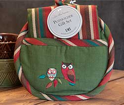 Embroidered Owl Pot Holder with Kitchen Towel