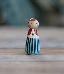 Patriotic Peg Doll Girl (or Ornament)