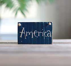 America Small Wooden Sign - Blue