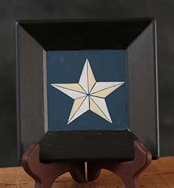 Barn Star Plate - White Star, Blue Background