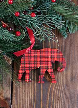 Tartan Plaid Elephant Ornament (Personalized)