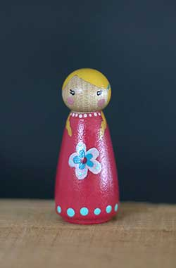 Pink Flower Girl Peg Doll