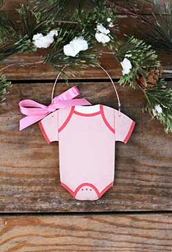 Pink Baby's First Christmas Bodysuit Ornament