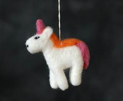 Felt Unicorn Ornament - Pink/Orange