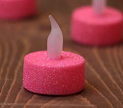Neon Pink Glitter LED Tealight Candle