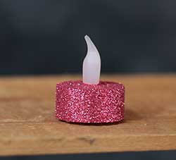 Pink Glitter LED Tealight Candle