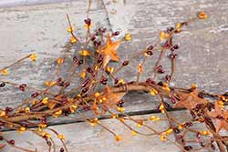 Burgundy & Gold Pip Berry & Rusty Star Garland - 40 inch