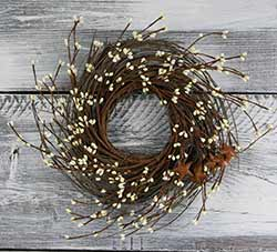 Ivory Pip Berry & Rusty Star Small Wreath or Candle Ring (16 inch)