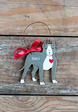 Pit Bull Personalized Ornament - Gray
