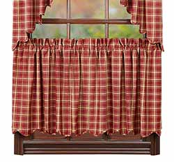 Kendrick Red Plaid Cafe Curtains - 24 inch Tiers