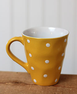 Polka Dot Wavy Mug - Yellow