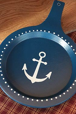 Nautical Blue Wooden Skillet with Anchor