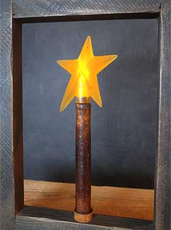 Burnt Mustard / Cinnamon Battery Taper Candle with Star - 10 inch