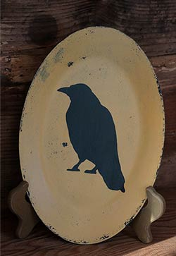 Primitive Crow Hand-painted Plate