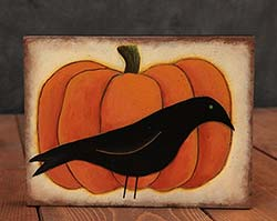 Crow & Pumpkin Hand-Painted Folk Art