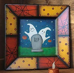 Halloween Hand-painted Folk Art Plate - Two Ghosts and Gravestone
