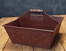 Burgundy Punched Star Metal Caddy