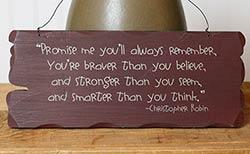 Promise Me Tattered Wood Sign - Burgundy