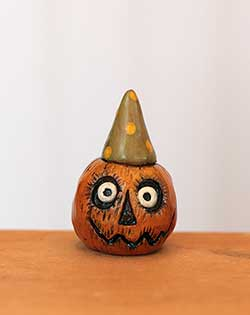 Miniature Pumpkin Jack - Orange with Green Hat