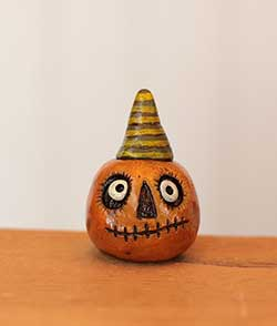 Miniature Pumpkin Jack - Orange with Striped Hat