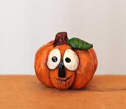 Miniature Pumpkin Jack with Green Leaf