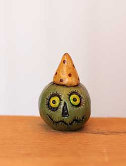 Miniature Pumpkin Jack - Green with Yellow Hat