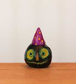 Miniature Pumpkin Jack - Black with Purple Hat