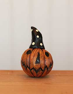 Miniature Pumpkin Jack with Wizard Hat