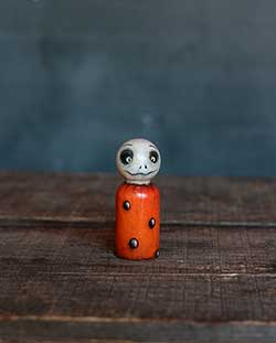 Orange Polka Dot Skelly Doll