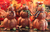 Blossom Bucket Pumpkinmen with Striped Scarves