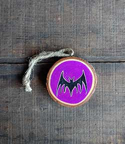 Bat Wood Slice Ornament (Personalized)