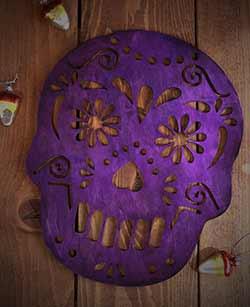 Sugar Skull Wall Decor - Purple