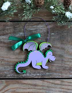 Friendly Dragon Personalized Ornament - Purple