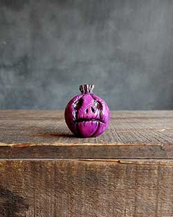 Purple Jack o'Lantern with Grim Face