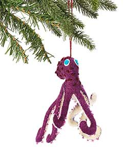 Purple Octopus Wool Ornament