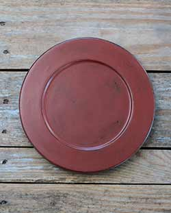 Distressed 9.5 inch Candle Plate - Tuscan Red