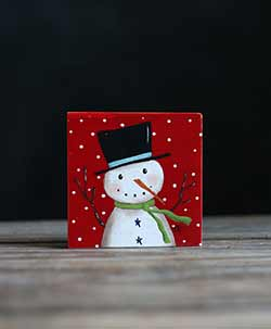 Red Snowman Folk Art Painting Shelf Sitter