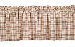 Tacoma Valance (Red and Cream Plaid)