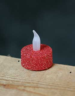 Red Glitter LED Tealight Candle