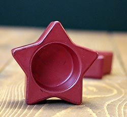 Red Painted Glass Star Tealight Holder