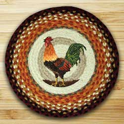Rooster Braided Jute Chair Pad