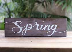 Spring Hand Lettered Wood Sign (Color Options Available)