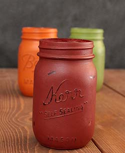 Hand-Painted Mason Jar (Pint) - Cinnamon Red