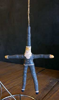 Primitive Santa Star Ornament - Grey