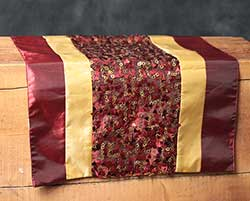 Burgundy & Gold Sequined Table Runner, 36 inch