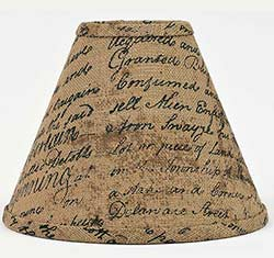 Indentured Burlap Lamp Shade - 6 inch