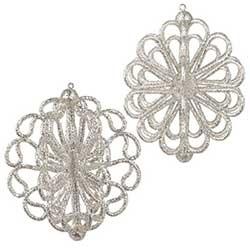 Silver Glittered Ornament